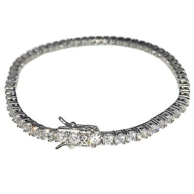 """Real Solid 925 Sterling Silver Iced Tennis Bracelet One Single Row 6"""" or 8"""" 3MM"""