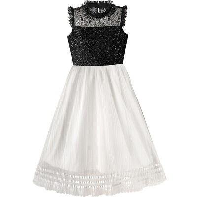 (Sunny Fashion Girls Dress White And Black Pleated Skirt Lace Sequin Size 6-14)