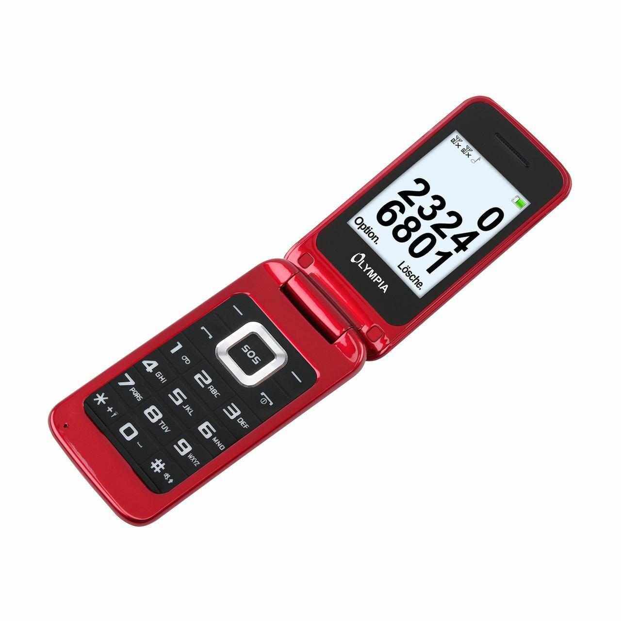 OLYMPIA Luna Senioren Mobiltelefon Handy mit großen Tasten Rot