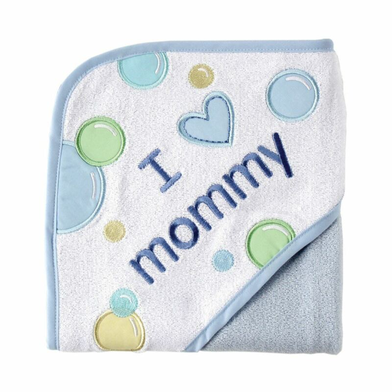 Luvable Friends Boy Hooded Towel, Blue-Mommy