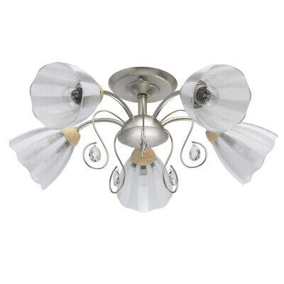 Lámpara de Techo Metal Color Plata Perla Plafones de Cristal 5 x...