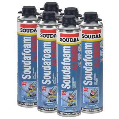 Soudal All Season Window Door Pro Gun Foam 24oz Lot Of 6 Cans