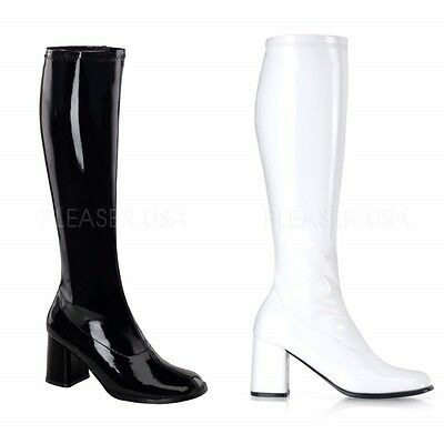 Women's Funtasma White or Black GOGO Boots 3in heel Size 6 8 10 New in Box Go Go - White Gogo Boots Size 6