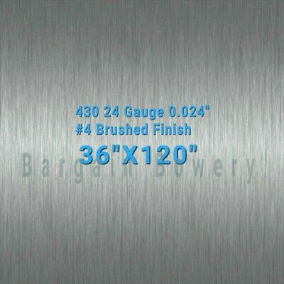 430 Stainless Steel Sheet Wall Covering 4 Brushed 24 Gauge 0.024 36 X 120