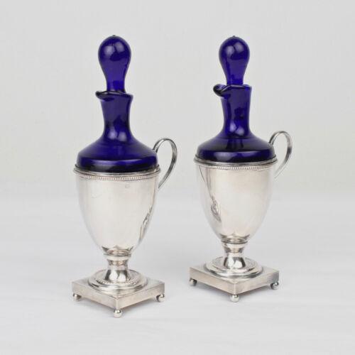 Pair Israel Freeman Silver Plate & Cobalt Blue Glass Oil & Vinegar Cruets - SL