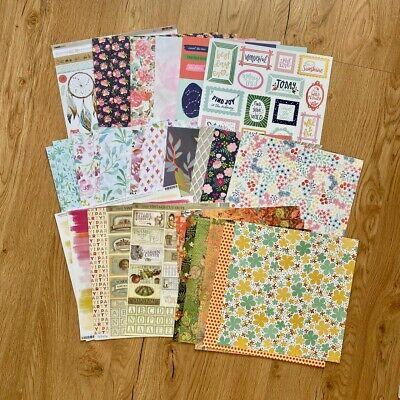 12x12 Scrapbooking Paper Bundle Lot Assortment x36 & Kaisercraft Sticker Sheet
