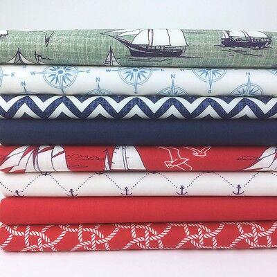 Nautical themed 8 piece 25cm x 25cm bundle 100% cotton fabric for craft/ sewing - Nautical Themed Fabric
