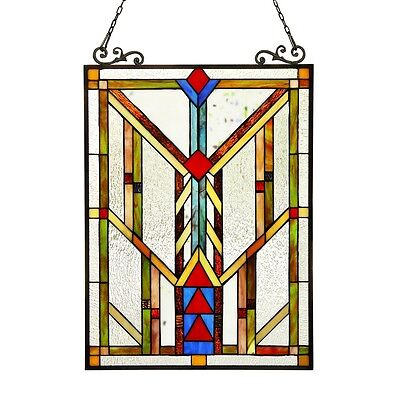 Stained Glass Tiffany Style Window Panel Arts & Crafts Matching Handcrafted