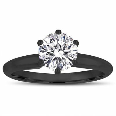 GIA Internally Flawless D Color Diamond Solitaire Engagement Ring Black Gold