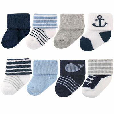Luvable Friends Boy Newborn Socks, 8-Pack, Nautical
