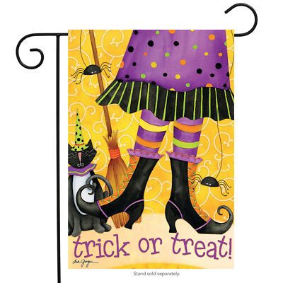 Halloween Broom Treats (Trick or Treat Witch Halloween Garden Flag Cat Broom 12.5