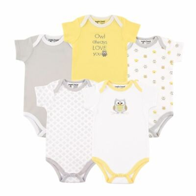 Luvable Friends Boy and Girl Bodysuits, 5-Pack, Yellow & Gray Owl