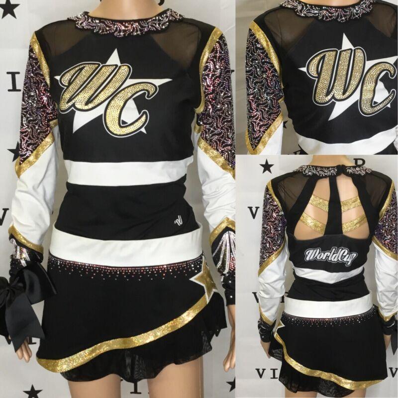 "Real Cheerleading Uniform  Allstar World Cup Adult Large Bodysuit 40"" Skirt 34"""