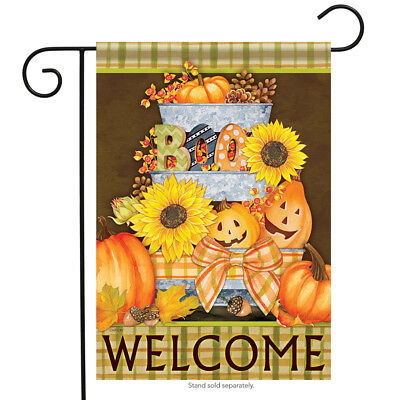 Halloween Buckets Welcome Garden Flag Sunflower BOO Jack O' Lantern 12.5