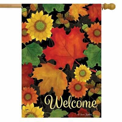 "Fall Foliage Welcome House Flag Primitive Autumn Leaves 28"" x 40"" Briarwood Lane"