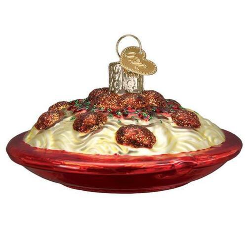 Old World Christmas SPAGHETTI AND MEATBALLS (32447)N Glass Ornament w/ OWC Box