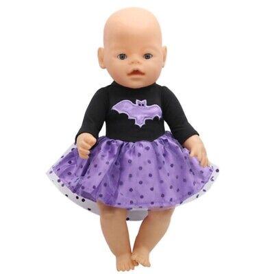 Puppenkleidung, Kleid, lila, Halloween, 43 cm, zb. Baby - Baby Halloween Kleidung