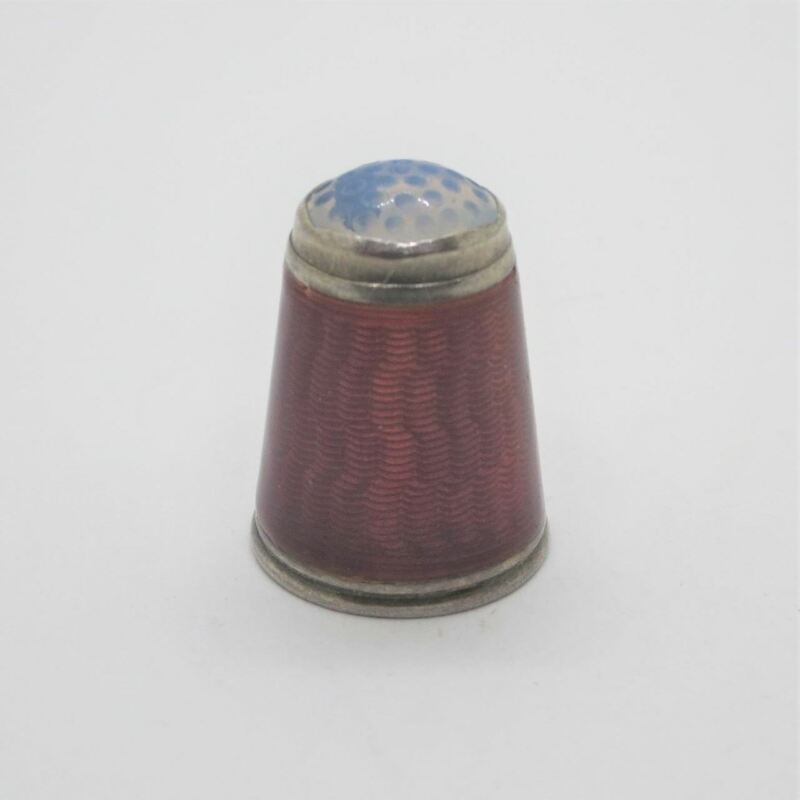 Antique Sterling Silver & Red Enamel Thimble Size 8 w Stone or Glass Top Germany