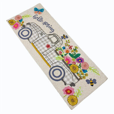 Hello Spring Florals Flower Truck Butterfly Bumblebees Beaded 36 Table Runner  - $69.99