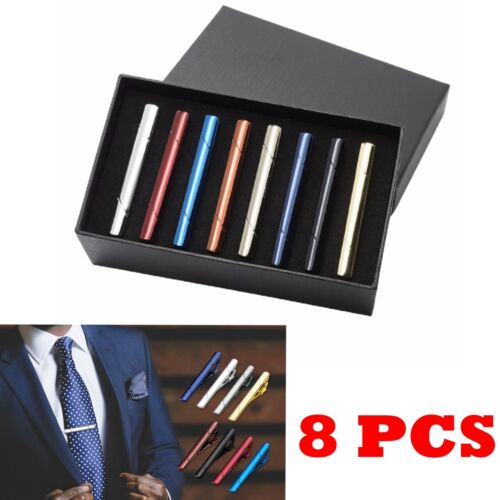 Set 8pcs Mens Stainless Steel Black Silver Gold Ties Necktie Clasp Pin Clip Bar