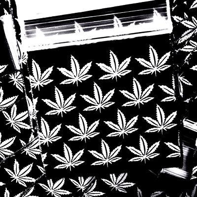 3mil 1515 1.5x1.5 100 Zip Lock Design Bags White Marijuana Leaf On Black