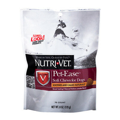 Nutri-Vet Pet-Ease SOFT CHEW Calming Aid Storm Dog Puppy Travel Stress Anxiety