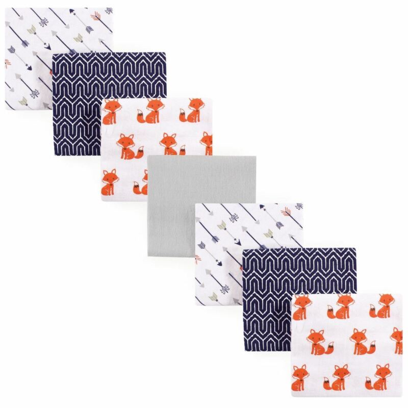 Hudson Baby Boy Flannel Receiving Blanket, 7-Pack, Foxes