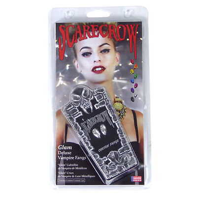 Vampire Fangs Chrome Silver Small Scarecrow Glam GLM220SSK - Cosplay, Halloween  - Scarecrow Vampire Fangs Small