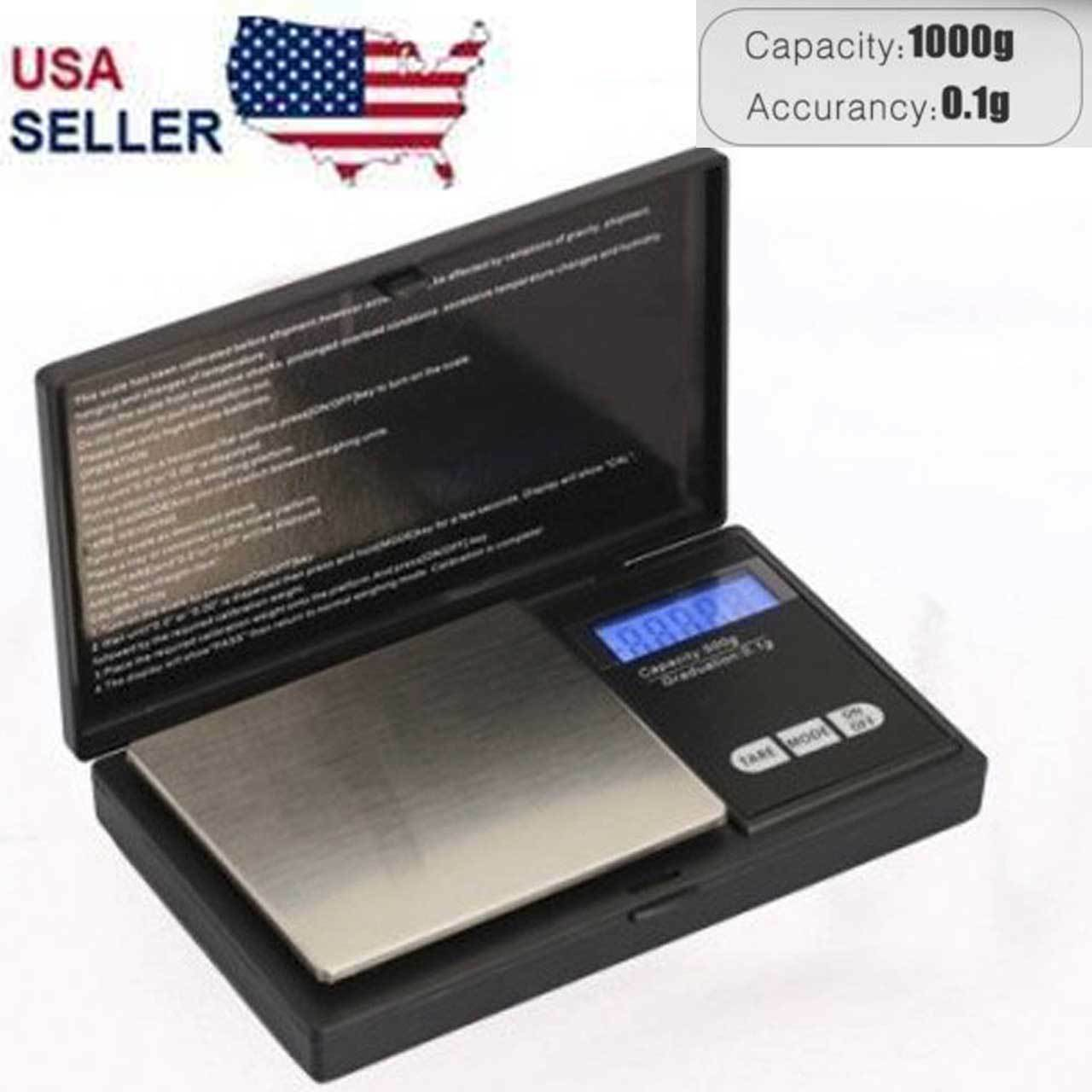 Digital Scale 1000g x 0.1g Jewelry Gram Silver Gold Coin Poc