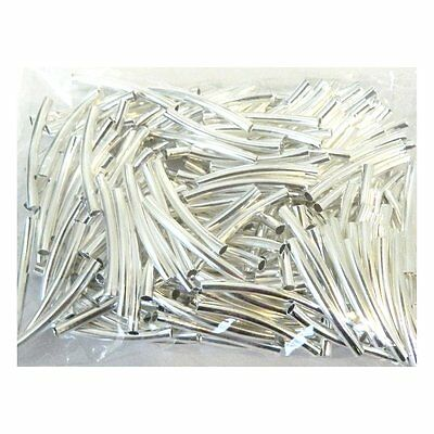 200 Curved Tube Beads 3x30mm Silver Plated Smooth Spacer Metal -