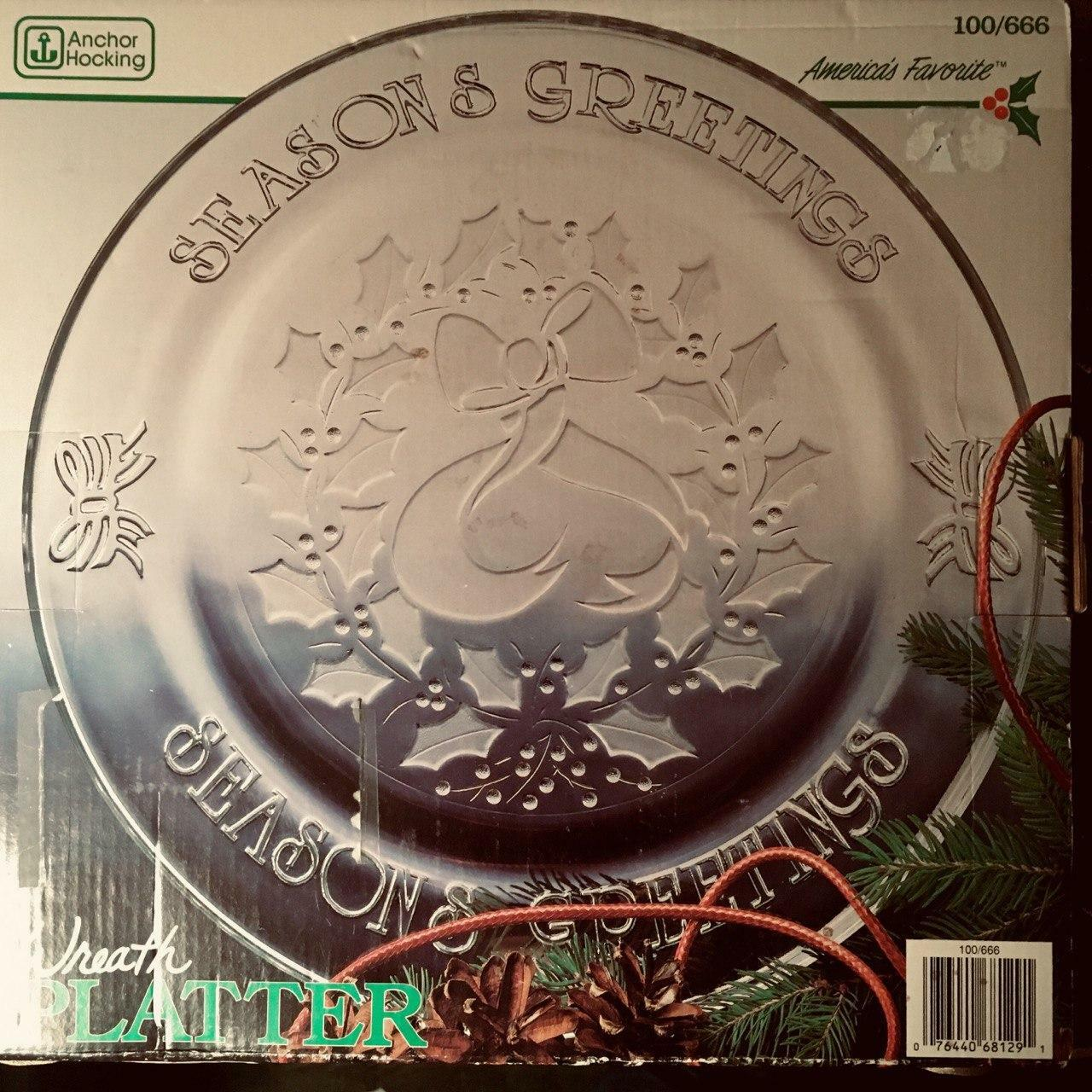 Anchor Hocking Glass Clear Season s Greetings 12 305mm Platter - $22.79