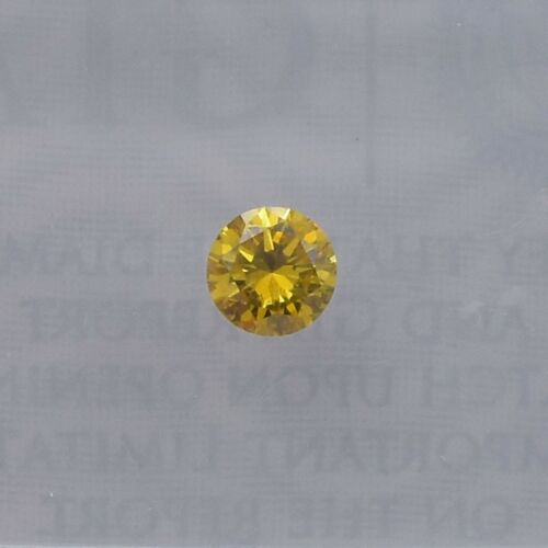0.15Cts Fancy Vivid Orangy Yellow Loose Diamond Natural Color Round Cut GIA Cert