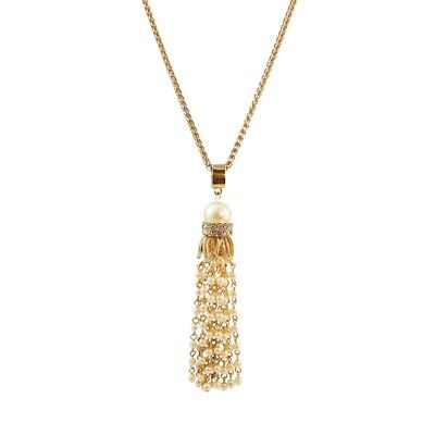 Simulated Crystal Drop Necklace - NEW White Simulated Pearl & Crystal Fringe Tassel Pendant Necklace in Goldtone