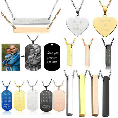 Personalized Name Bar Necklace Chain Custom Engraved Any Name Stainless Steel US