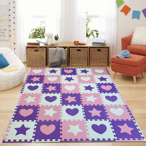 Heart & Star shapes EVA foam Mat Kids Playroom Crawling Jigsaw Puzzle Floor Tile
