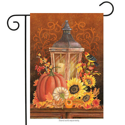 Fall Lantern Primitive Garden Flag Pumpkins Sunflower 12.5