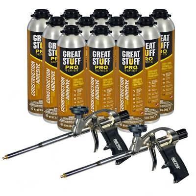 Dow Great Stuff Wall And Floor Adhesive 26.5 Oz Gun Foam 12 Cans 2 Foam Guns