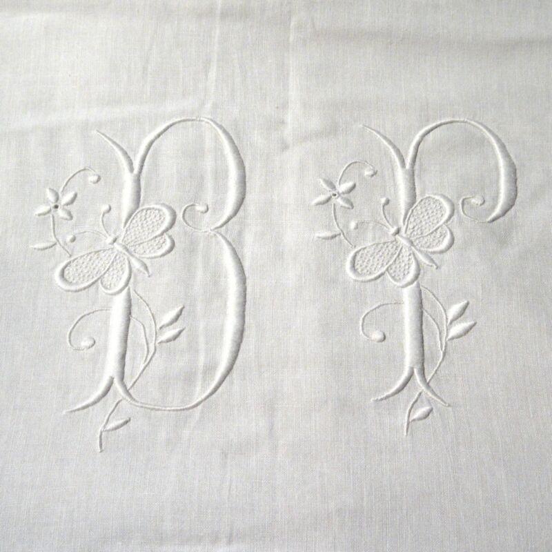 "AntiqueFrench Sheet Monogrammed""BP"" Butterfly Embroidered Ladderwork 128 x 92"""