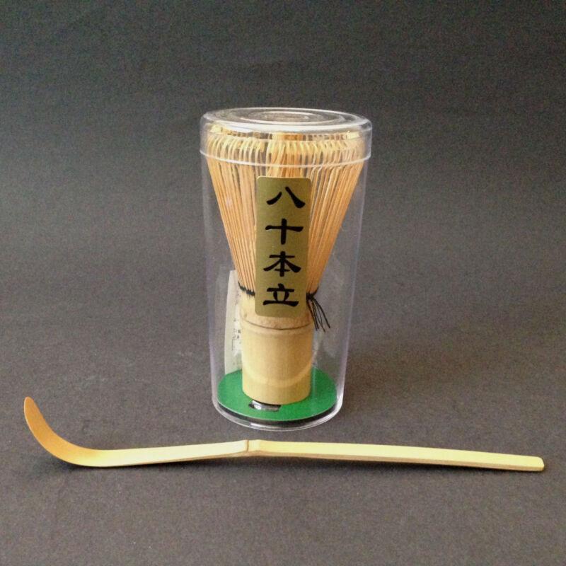 Tea Ceremony Utensil 80 Count Wisk Whisk w/ Chashaku Bamboo Scoop Matcha Tool
