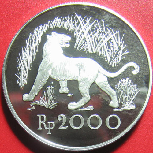1974 INDONESIA 2000 RUPIAH SILVER PROOF JAVAN TIGER WILDLIFE CAT CONSERVATION RR