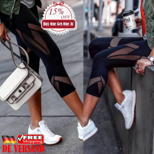 Damen Sporthose Yoga Leggings Hose Mesh Perspektive Laufhose Fitness Jogginghose