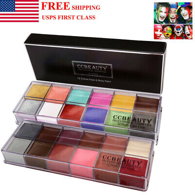 Professional Face Body Paint Oil 12Colors Painting Art Party Fancy Make Up Set - Apply Halloween Makeup