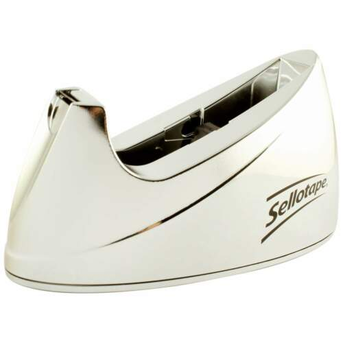 Large Chrome Sellotape Tape Dispenser - Non Slip Base SE04640
