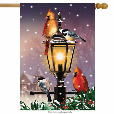 #167  THE GATHERING WINTER WITH BIRDS AT LAMP POST HOUSE FLAG 28X40 BANNER