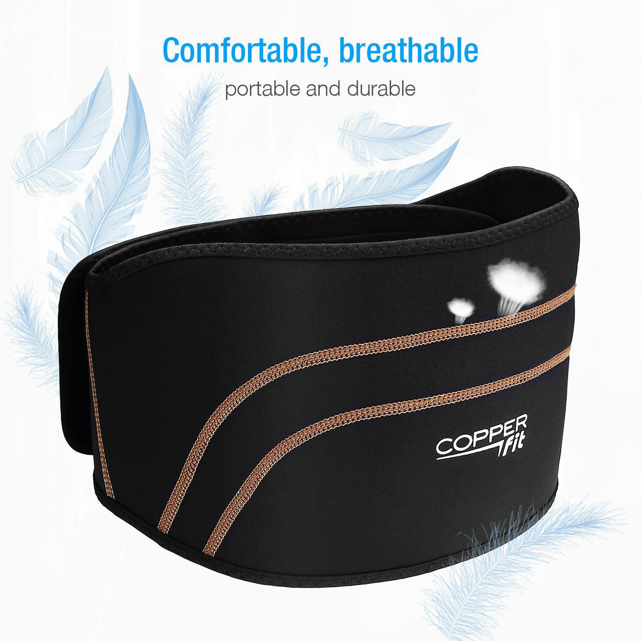 Copper Fit Back Brace Compression Adjustable Lower Lumbar Su