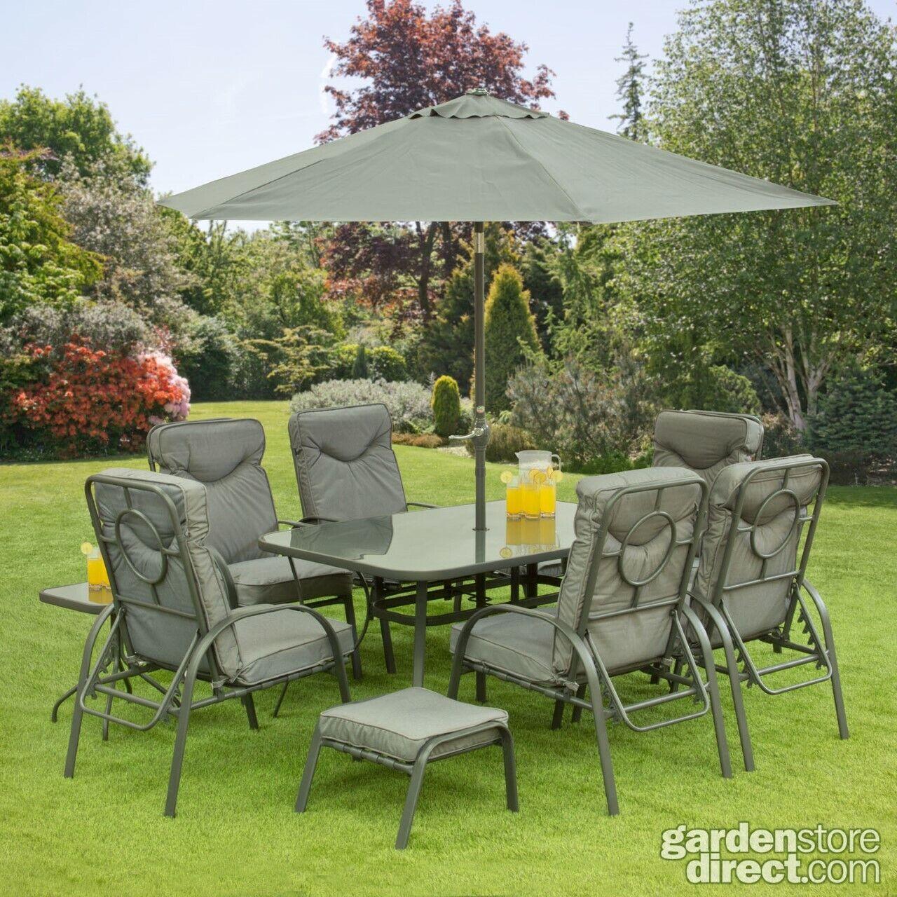 Garden Furniture - 11 Piece Garden Furniture Set Table Chairs Foot Stools & Parasol Matching Grey