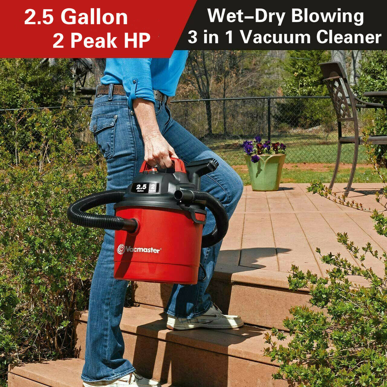 Vacmaster 2.5 Gallon Portable Car Vacuum Cleaner Wall Mount