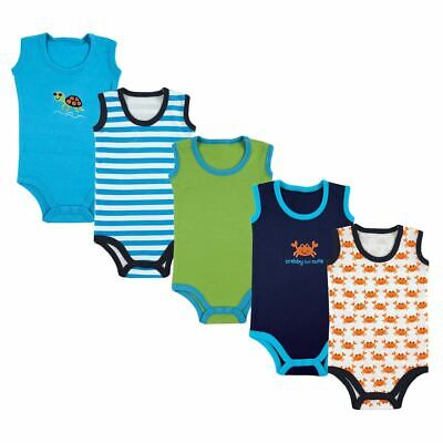 Luvable Friends Boy Sleeveless Bodysuits, 5-Pack, Blue Crab