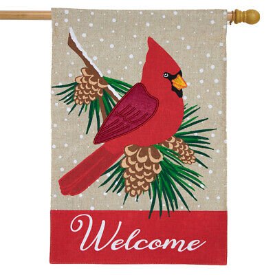 cardinal winter burlap house flag welcome pinecones