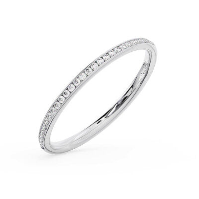 Half 2 Channel (2mm Channel Set Round Brilliant Diamond Half Eternity Ring Available in Platinum )